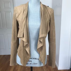 KATHERINE BARCLAY FAUX SUEDE OPEN JACKET SMALL
